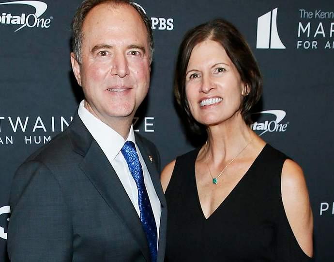 Adam Schiff looking happy with his wife, Eve